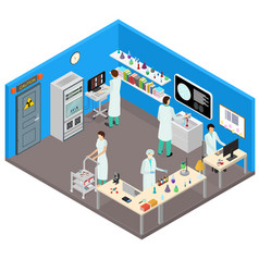 science lab interior with furniture isometric view vector image vector image