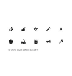 Set of 10 editable construction icons includes vector