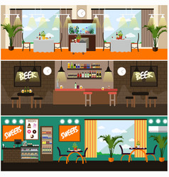 set of pub restaurant interior concept vector image vector image