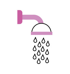 shower head in bathroom with water drops flowing vector image