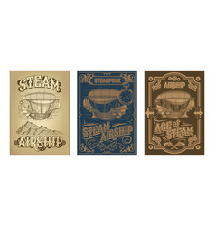 steampunk posters with fantastic wooden vector image vector image