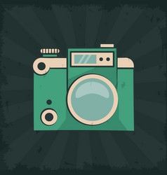 Vintage photo camera flash gadget retro poster vector