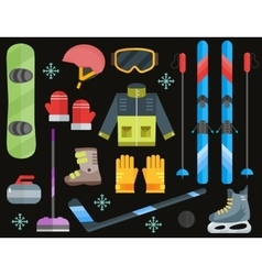 Winter sports equipment set- ski curling skates vector image