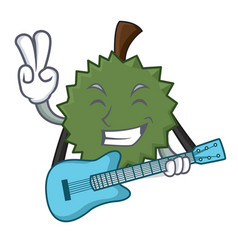 with guitar durian mascot cartoon style vector image