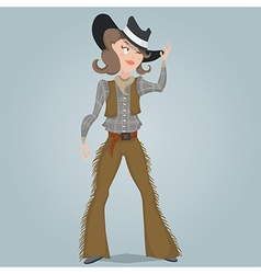 cowgirl funny cartoon character vector image