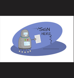 Cartoon robot character with contract in hand vector