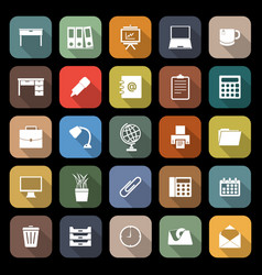 Workspace flat icons with long shadow vector
