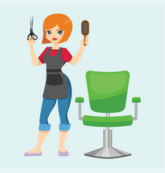 fashion hairdresser woman with hair clipper and vector image