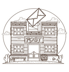 Wild west post office outline drawing for coloring vector