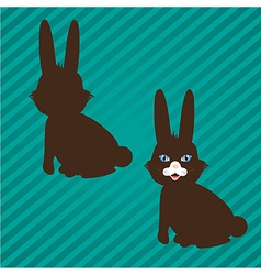 Two types of bunny silhouettes on a background of vector