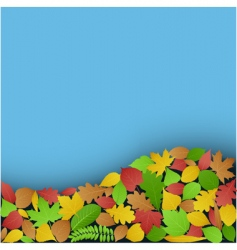 Green and autumn leaves backer vector
