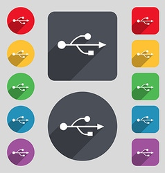 Usb icon sign a set of 12 colored buttons and a vector