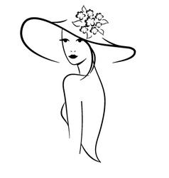 Woman in hat vector