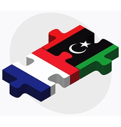 France and libya flags vector