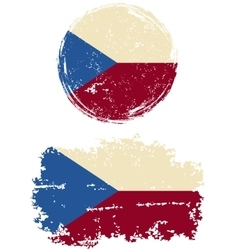 Czech round and square grunge flags vector