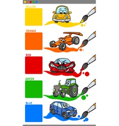 Main colors cartoon with vehicles vector