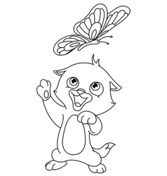 Outlined kitten and butterfly vector