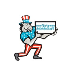 Vote democrat donkey mascot cartoon vector