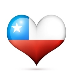 Chile heart flag icon vector