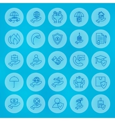 Line circle business insurance icons set vector