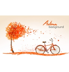 Autumn nature banners with a tree and a bicycle vector image