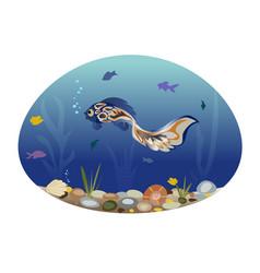 Blue fish swims among seaweed and small fish vector