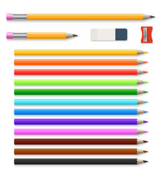 Colored pencils eraser and sharpener isolated on vector