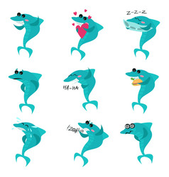cute sharks cartoon characters set funny fish in vector image