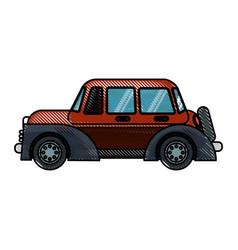 Drawing red car windows wheel transport vector
