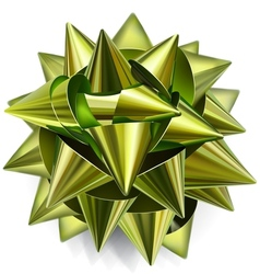 Green bow of shiny ribbon vector image