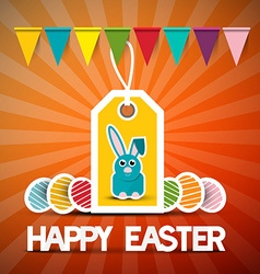 Happy easter retro card with bunny - flags and vector