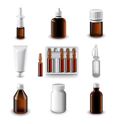Medical bottles icons set vector