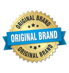 Original brand 3d gold badge with blue ribbon vector