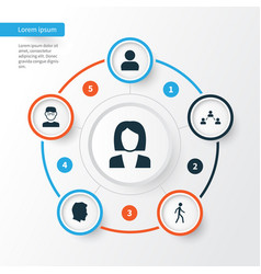 people icons set collection of network vector image