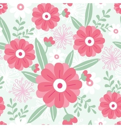 Pink flowers and green leaves seamless pattern vector image