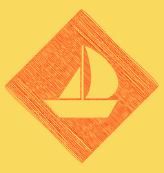 Sail boat sign red scribble icon obtained vector