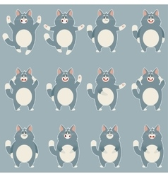 Set of flat grey cat icons vector