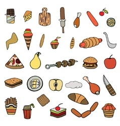 set of food theme vector image vector image
