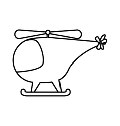Silhouette helicopter toy flat icon vector