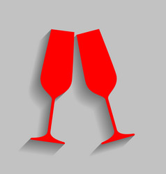 sparkling champagne glasses red icon with vector image vector image