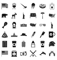Uncle sam icons set simple style vector