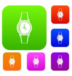 wristwatch set color collection vector image