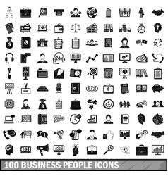 100 business people icons set simple style vector