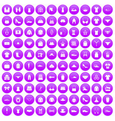 100 sewing icons set purple vector