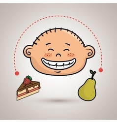 Boy fruit cake dessert vector