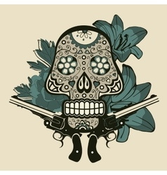 Hand drawn sugar skull with flowers and guns vector