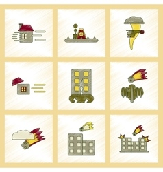 Assembly flat shading style icon natural disasters vector