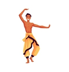 Indian male dancer in traditional harem pants vector