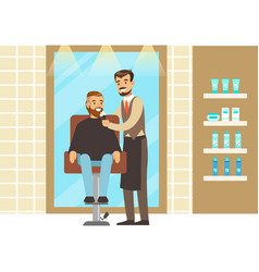 Man getting a shave from male barber at salon vector