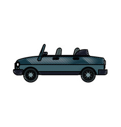 Drawing convertible car vehicle transport vector